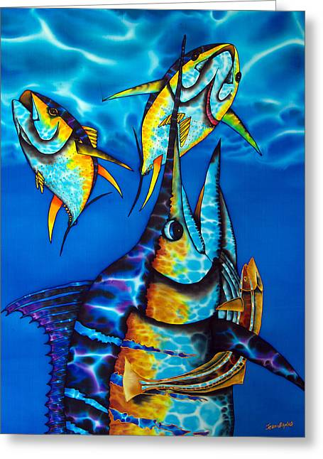 Print Tapestries - Textiles Greeting Cards - Blue Marlin Greeting Card by Daniel Jean-Baptiste