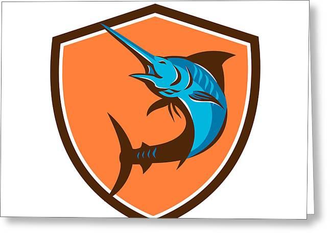 Swordfish Greeting Cards - Blue Marlin Fish Jumping Shield Retro Greeting Card by Aloysius Patrimonio