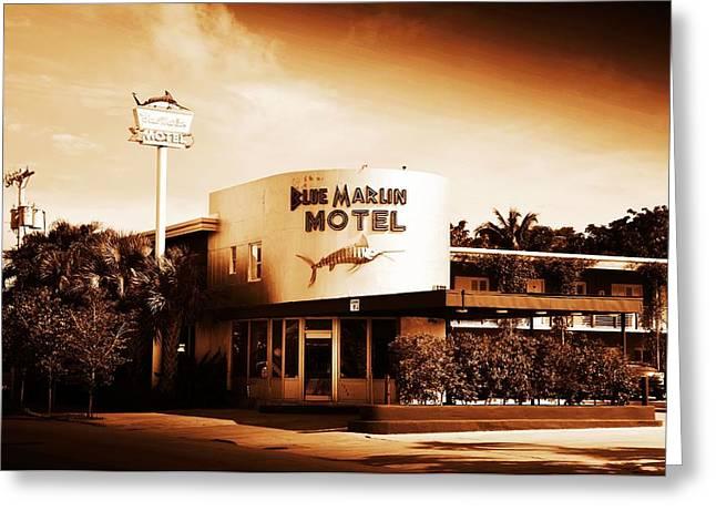 Blue Marlin.white Marlin Greeting Cards - Blue Marlin Motel - Key West Florida Greeting Card by Bill Cannon