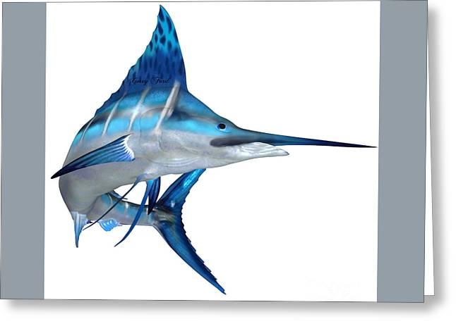 Swordfish Greeting Cards - Blue Marlin Ocean Fish Greeting Card by Corey Ford