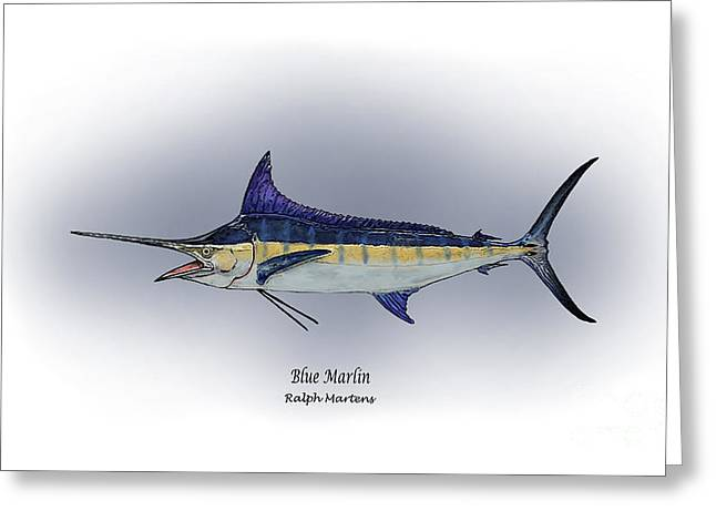 Angling Drawings Greeting Cards - Blue Marlin Greeting Card by Ralph Martens