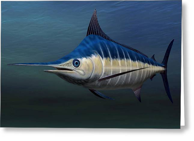 Swordfish Greeting Cards - Blue Marlin Greeting Card by Walter Colvin