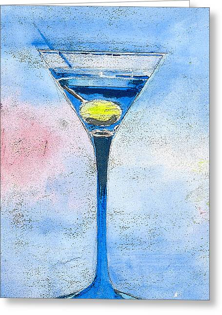 Blue Martini Greeting Card by Arline Wagner