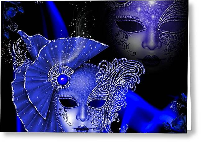 Floral Digital Art Digital Art Greeting Cards - Blue Masquerade Greeting Card by G Berry