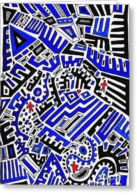 Blue Maze Greeting Card by Sarah Loft