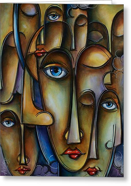 Urban Images Paintings Greeting Cards - Blue Greeting Card by Michael Lang