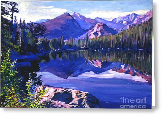 Lake Paintings Greeting Cards - Blue Mirror Lake Greeting Card by David Lloyd Glover