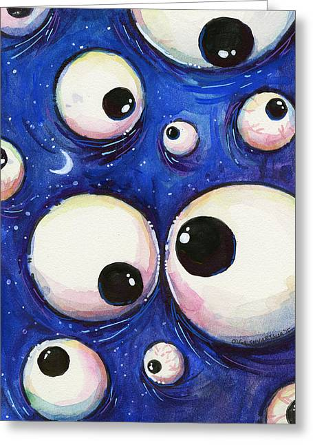 Night Mixed Media Greeting Cards - Blue Monster Eyes Greeting Card by Olga Shvartsur