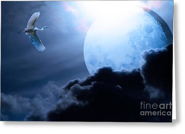 Blue Moon - 7D12372 Greeting Card by Wingsdomain Art and Photography