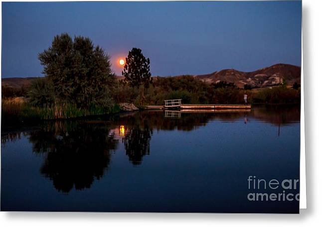 Crater Lake Twilight Greeting Cards - Blue Moon And Fisherman Reflections Greeting Card by Robert Bales
