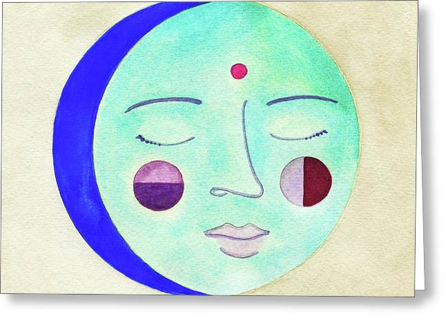 Blue Moon Greeting Card by Clary Sage Moon