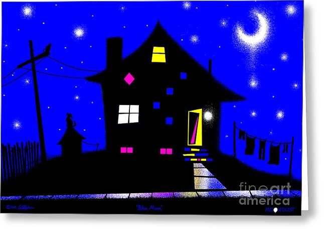 Doghouse Greeting Cards - Blue Moon Greeting Card by Cristophers Dream Artistry