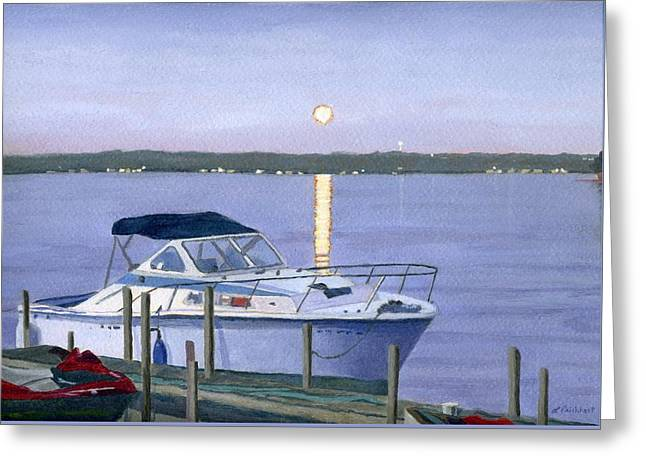 Docked Boats Greeting Cards - Blue Moon Greeting Card by Lynne Reichhart