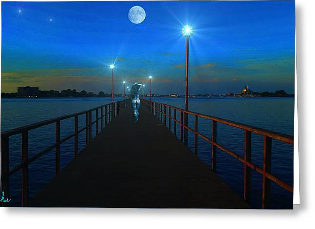 Beach At Night Digital Greeting Cards - Blue Moon Greeting Card by Michael Rucker