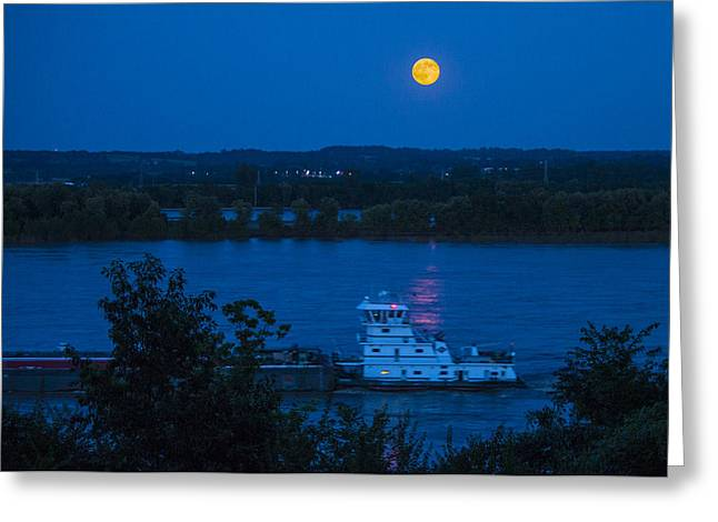Moonrise Greeting Cards - Blue Moon over the Mississippi River Greeting Card by Garry McMichael