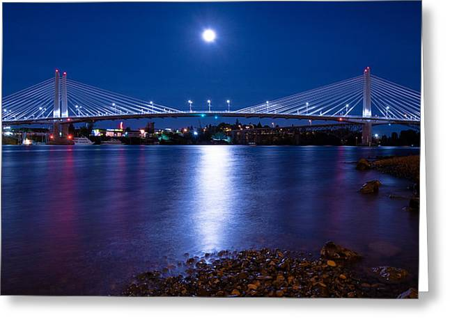 Moonrise Greeting Cards - Blue Moon Over Tilikum Crossing Greeting Card by Patrick Campbell