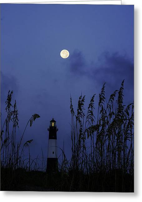 Moon Beach Greeting Cards - Blue Moon over Tybee Light Greeting Card by Jamie Anderson