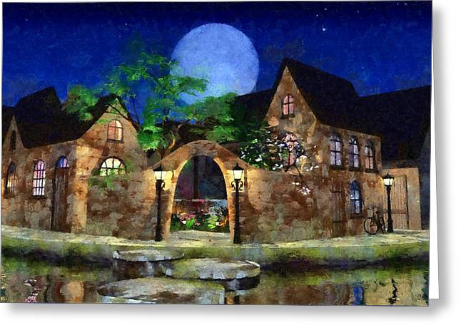 Blue Moon Painted Greeting Card by Cynthia Decker