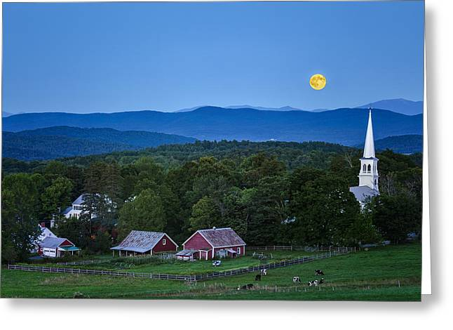 Moonrise Greeting Cards - Blue Moon Rising Greeting Card by John Vose