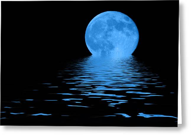 Sphere Mixed Media Greeting Cards - Blue Moon Greeting Card by Shane Bechler