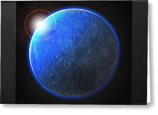 Celestial Bodies Greeting Cards - Blue Moon - The Dark Side of the Moon  Greeting Card by Serge Averbukh