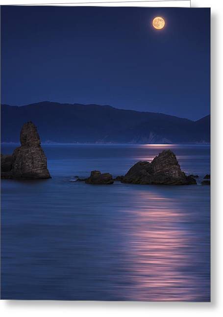 Sea Moon Full Moon Greeting Cards - Blue Moon Greeting Card by Thrasivoulos Panou