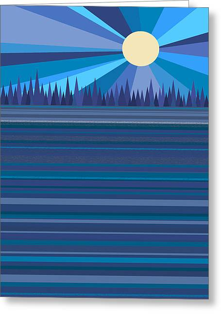 Moonshine Digital Greeting Cards - Blue Moonshine Greeting Card by Val Arie