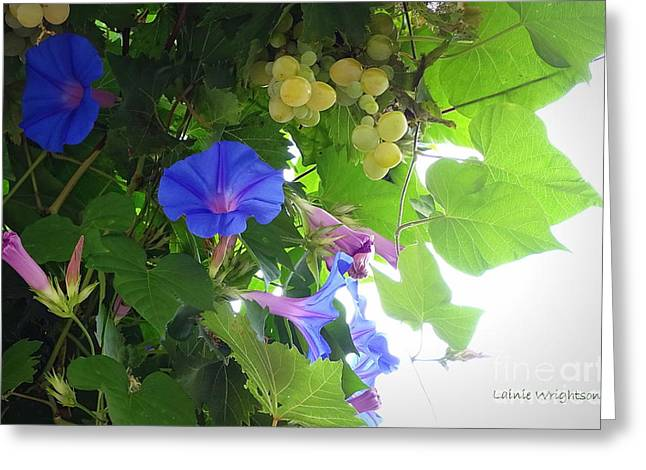 Blue Morning Glories And Grapes Greeting Card by Lainie Wrightson