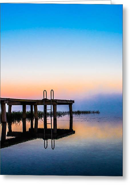Blue Morning Greeting Card by Shelby Young