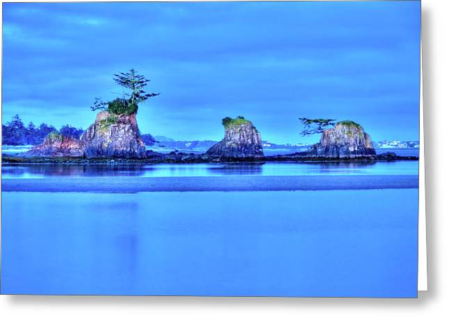 Hdr Landscape Greeting Cards - Blue Morning Siletz Bay Oregon Greeting Card by Connie Cooper-Edwards