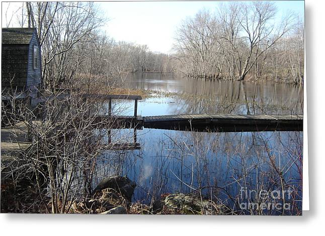 Alcott Greeting Cards - Blue Mornings on the Concord River Greeting Card by Leslie M Browning