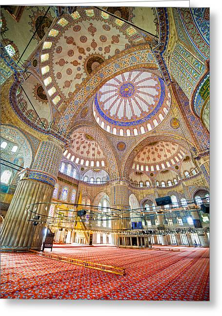 Geometric Photographs Greeting Cards - Blue Mosque Interior Greeting Card by Artur Bogacki