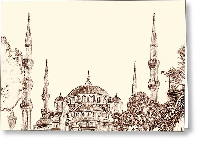 Istanbul Greeting Cards - Blue Mosque Istanbul Greeting Card by Emily Enz