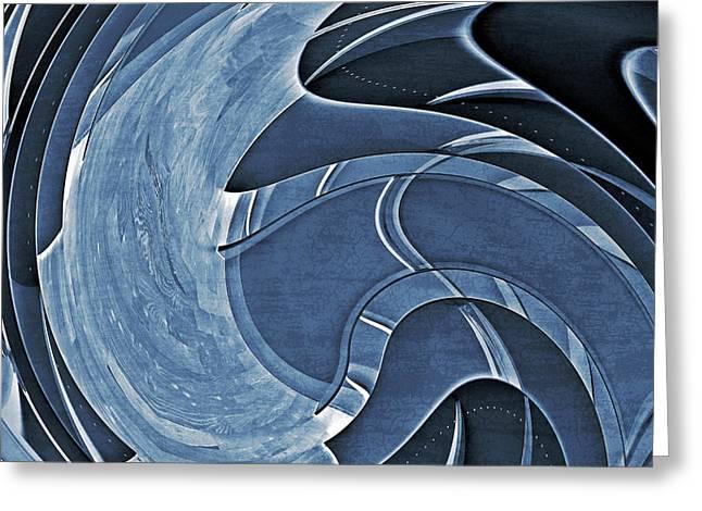 Blue Motion Greeting Card by Susan Leggett