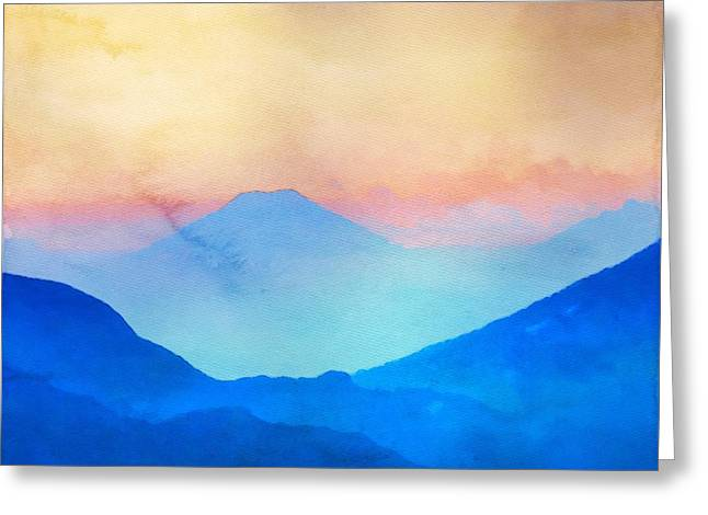 Cushions Mixed Media Greeting Cards - Blue Mountains Watercolour Greeting Card by Mark Taylor