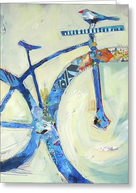 Blue Mt Bike And Bird Greeting Card by Shelli Walters