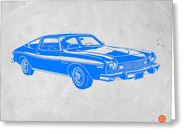 Modernism Greeting Cards - Blue Muscle Car Greeting Card by Naxart Studio