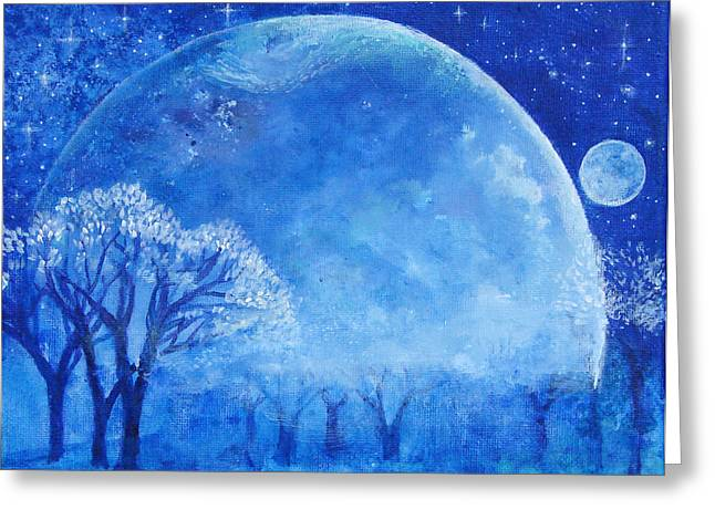 Dream Scape Paintings Greeting Cards - Blue Night Moon Greeting Card by Ashleigh Dyan Bayer