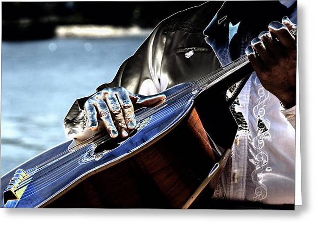 Guitar Digital Greeting Cards - Blue Notes Greeting Card by Lyle  Huisken