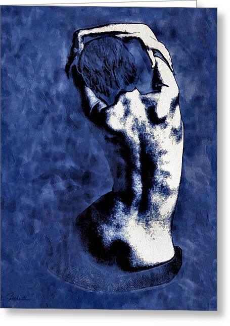 Blue Nude After Picasso Greeting Card by Joe Bonita