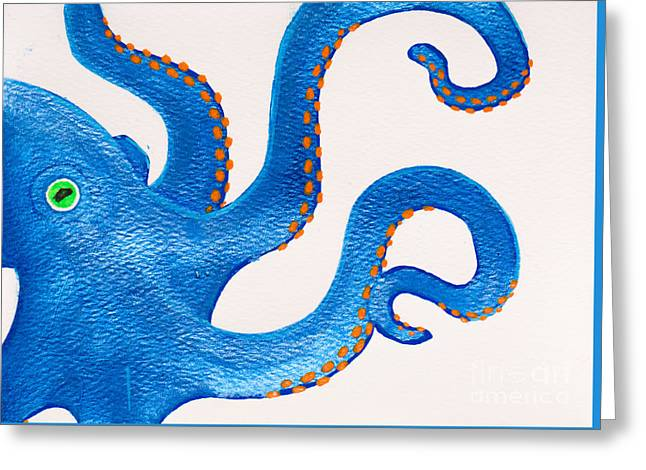 White Paintings Greeting Cards - Blue octopus Greeting Card by Stefanie Forck