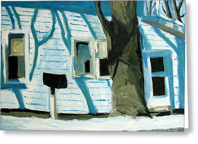 Print On Acrylic Greeting Cards - Blue On Blue Greeting Card by Charlie Spear