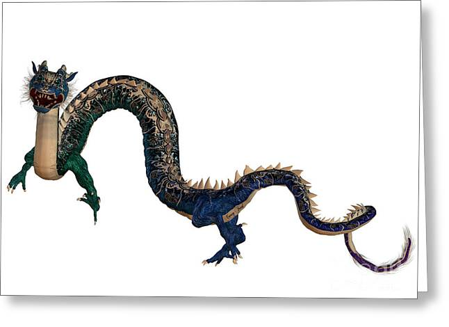 Fantasy Creatures Greeting Cards - Blue Ornamental Dragon Greeting Card by Corey Ford