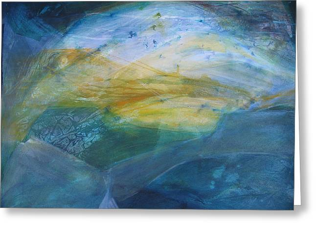 Recently Sold -  - Abstract Waves Greeting Cards - Blue Painting Flying Kelp Greeting Card by Mary Sawyer Atkinson