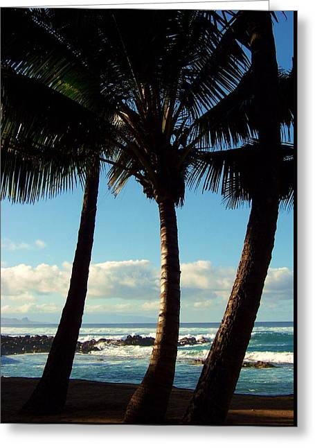 Sea Scape Greeting Cards - Blue Palms Greeting Card by Karen Wiles