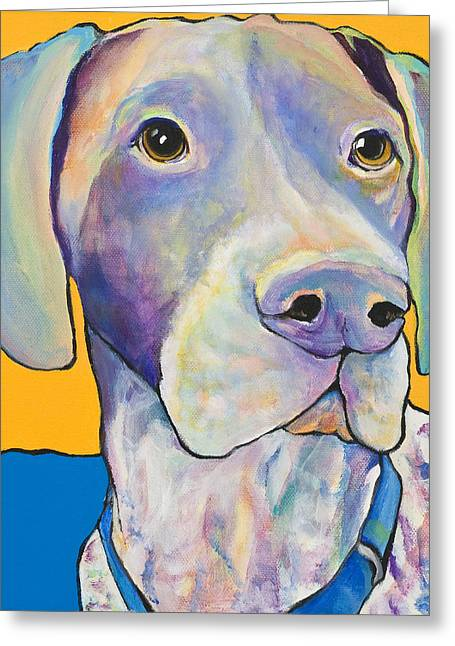 Dogs Paintings Greeting Cards - Blue Greeting Card by Pat Saunders-White