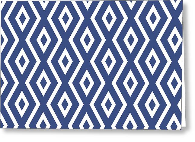 Bedroom Art Greeting Cards - Blue Pattern Greeting Card by Christina Rollo