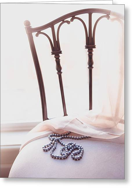 Greeting Cards - Blue Pearls on Chair Greeting Card by Rebecca Cozart