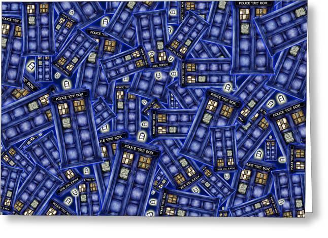 Blue Phone Box Pattern Greeting Card by Lugu Poerawidjaja