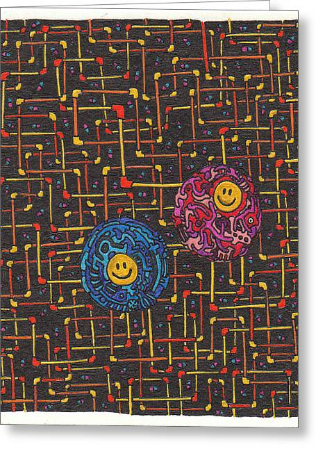 Pill Drawings Greeting Cards - Blue Pill and Red Pill Greeting Card by Daisuke Okamoto